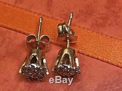 Estate Vintage 14k Yellow Gold Genuine Natural Diamond Earrings Stud Flowers