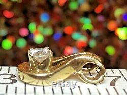 Estate Vintage 14k Yellow Gold Genuine Natural Diamond Pendant Solitaire