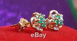 Estate Vintage 14k Yellow Gold Green Emerald Earrings & White Topaz Flowers