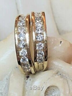 Estate Vintage 14k Yellow Gold Natural Genuine Diamond Earrings J-hook