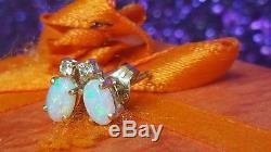 Estate Vintage 14k Yellow Gold Opal Diamond Accent Earrings Stud