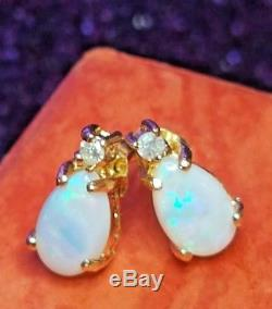 Estate Vintage 14k Yellow Gold Opal Diamond Accent Earrings Stud Signed Ail