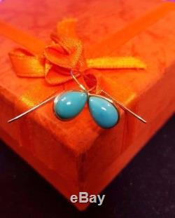 Estate Vintage 14k Yellow Gold Turquoise Cabs Earrings French Hooks Mexico