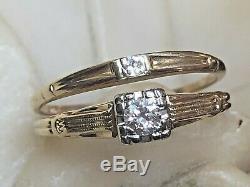 Estate Vintage 18k Gold Head 14k Band Diamond Ring & Band Engagement Wedding