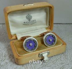 Exceptional FABERGE 14ct Rose Gold Lilac Enamel & Diamond Cufflinks d2020