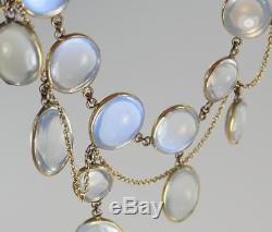 Exquisite Antique Victorian 10K Gold Blue Moonstone Festoon Dangling Necklace