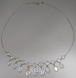 Exquisite Antique Victorian Blue Moonstone Fringe Dangling Necklace Gold Chain