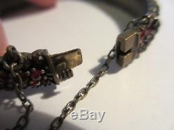Exquisite Antique Victorian Silver Triple Row Bohemian Garnet Bangle Bracelet-nr