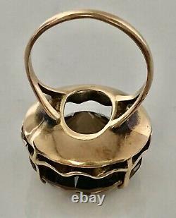 FAB ESTATE DESIGNER NATURAL smokey TOPAZ LARGE 14 K GOLD COCKTAIL RING vintage