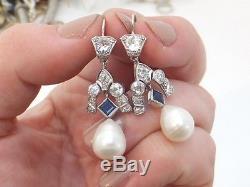 Fine 1.5ct old cut Diamond, sapphire & Pearl Art deco platinum drop earrings, 750