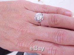 Fine 1.95 carat old cut diamond solitaire platinum art deco ring