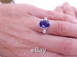 Fine 2.5ct sapphire baguette cut diamond platinum art deco ring