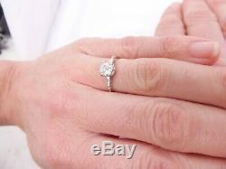 Fine 3/4ct old mine cut diamond 18ct gold art deco design solitaire ring