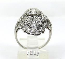 Fine Art Deco 3.0ct Diamond & Platinum Filigree Navette Shape Ring