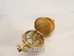 Fine French rare heavy Victorian 18ct gold diamond enamel pocket watch