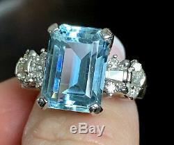Fine Heavy Platinum 8.47ct vs Emerald Cut Aquamarine. 75ct VS Diamond Ring 12.8g
