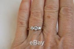 Fine Vintage Art Deco 18 Ct Gold & Plat 0.40 Ct Old Cut Diamond Three Stone Ring