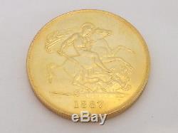 Fine rare heavy mint Victorian 22ct/22carat/916 gold 5 pound piece 1887
