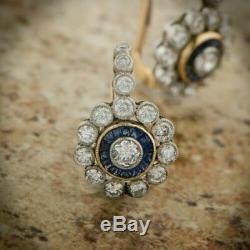 Floral Vintage Earrings Antique Art Deco 1.0 Ct Diamond Halo 14K White Gold Over