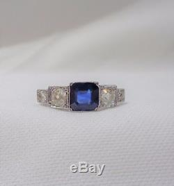 French Antique Sapphire & Diamond Five Stone Ring in Platinum & 18ct Gold
