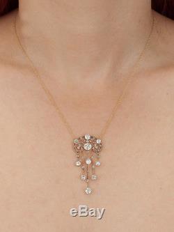 GENUINE ART NOUVEAU FRENCH 3.21 Ct DIAMOND PENDANT ANTIQUE NECKLACE