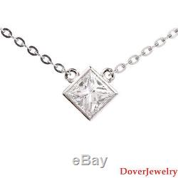 GIA 1.00ct E-VS2 Square Princess Diamond Platinum Pendant Necklace NR