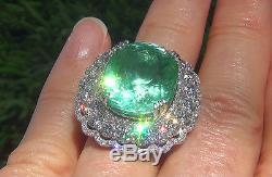 GIA 25.64 ct VVS1 Natural Paraiba Tourmaline Diamond PLATINUM Estate Ring GEM