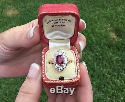 GIA Antique Art Deco French 18K Platinum 3.48 CTW Burma Ruby & Diamond Ring