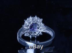 GIA Cert 3 Ct VVS Cushion Diamond BLUE Tanzanite 14k White Gold Cocktail Ring 7