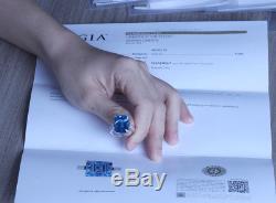 GIA Cert Natural Diamonds Emerald Cut Blue Rare Topaz 14k White Gold Ring 18 Ct