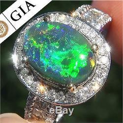 GIA Certified 3.34 ct Natural Black Australian Black Opal Diamond 14k Gold Ring