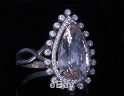GIA Certified Diamonds and Pink Morganite 14k Rose Gold Ring Estate Pear Natural
