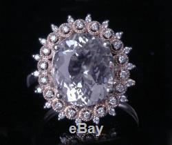 GIA Certified Real Diamonds and Pink RARE Morganite 14k Rose Gold Ring Estate 7