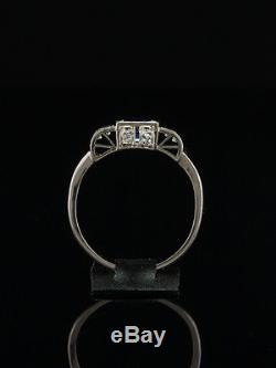 Genuine Antique Art Deco Natural Sapphire And Diamond Platinum Cluster Ring