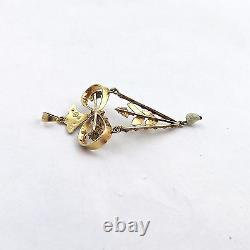 Georgian 14k Gold Mine Cut Diamond Seed Baroque Pearl Dangle Charm Pendant