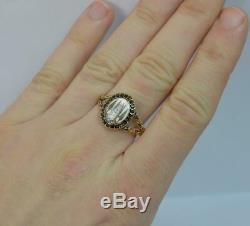 Georgian 15ct Gold Sepia and Flat Cut Garnet Ring d0413