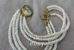 Georgian 1790's Sepia Sheepherdess Woman Miniature Clasp Pearl Bracelet 7-8