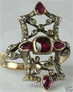 Georgian Antique 14k Gold Rose Cut Diamond Ruby Ring