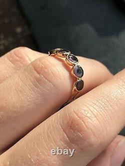 Georgian Antique Flat Cut Garnet Half Hoop Five Stone Band Ring Closed Back