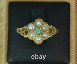 Georgian Forget Me Not Turquoise & Pearl 18ct Gold Ring