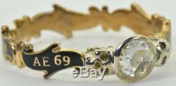 Georgian Memento Mori/Mourning Skull 18k Gold, Diamond&black Enamel ring c1758