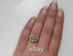 Georgian Mine Cut Diamond Ruby Ring 14k Yellow Gold Silver Antique Early