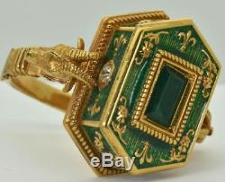 Georgian Occultists Baphomet Memento Mori Gold, Enamel&Emerald Poison ring 1743