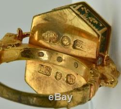 Georgian Occultists Baphomet Memento Mori Gold, Enamel&Emerald Poison ring 1743