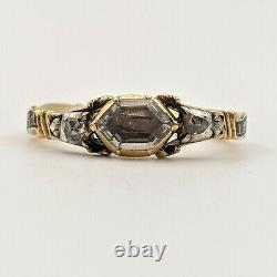 Georgian Rococo Ribbon Band Mourning Ring, Crystal, Hair & Diamonds in Gold 1760