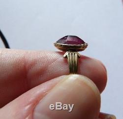 Georgian / Victorian Stunning Pink Almandine Garnet & 15 Carat Gold Ring Size M