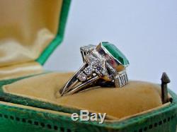 Gorgeous Antique Art Deco Platinum Emerald Diamond Ladies Ring