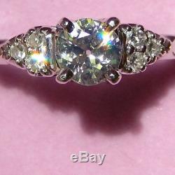 Gorgeous Sparkly. 80 TCW SI2 Old Mine European Cut Diamond Ring 14K W Gold