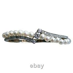 Gorgeous Vintage Pearl, Diamond 14K Yellow Gold Over 7.5 Hinged Bangle Bracelet