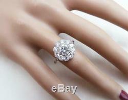 Gorgeous platinum art deco 1.85ct Diamond daisy cluster ring